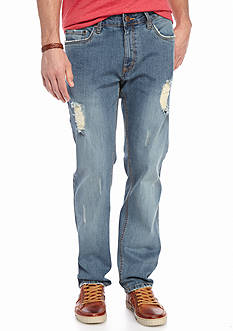 Red Camel® Slim Fit Straight Leg Patched Jeans