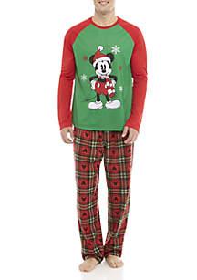 Mens Mickey Mouse 2-Piece Pajama Set