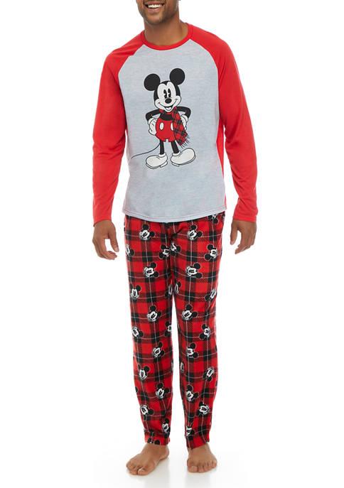 Briefly Stated Mens Mickey Long Sleeve Pajama Set