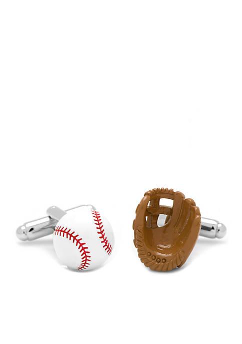 Cufflinks Inc 3D Baseball and Glove Enamel Cufflinks