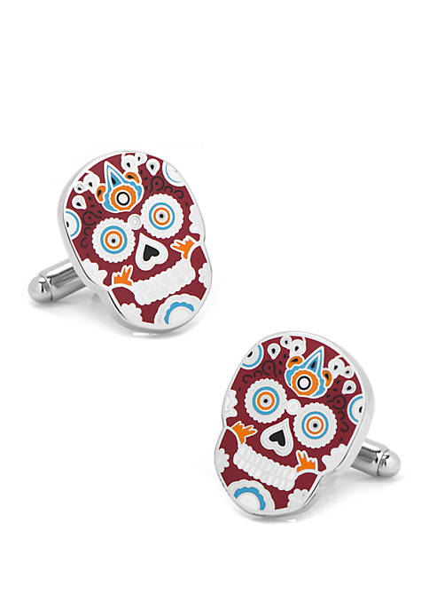 Red Sugar Skull Cufflinks