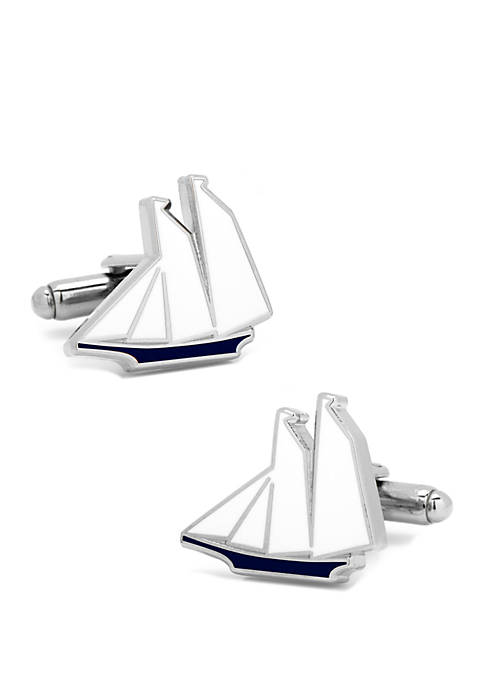 Cufflinks Inc Blue and White Sailboat Cufflinks