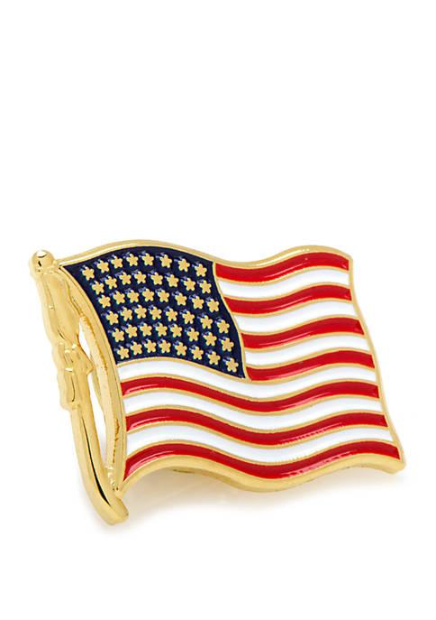 Cufflinks Inc Waving American Flag Lapel Pin