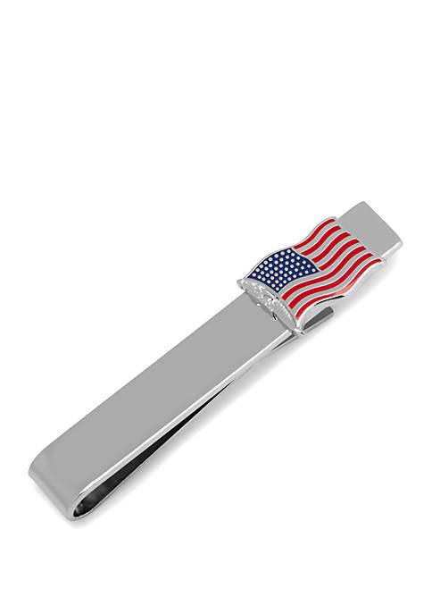 Waving American Flag Tie Bar