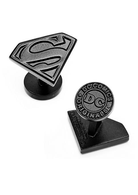 Satin Black Superman Shield Cufflinks
