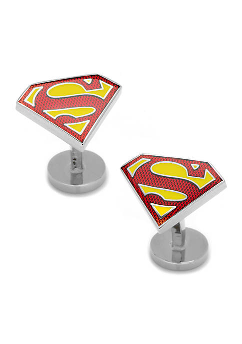 Cufflinks Inc Textured Transparent Enamel Superman Shield