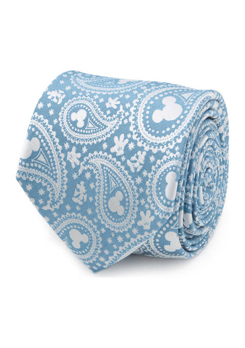 Disney® Mens Mickey Mouse Teal Paisley Tie
