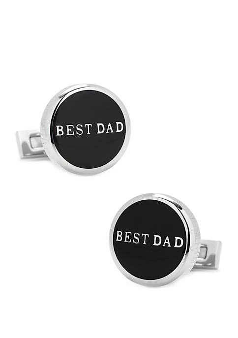 Ox & Bull Trading Co Best Dad Black Stainless Steel Cufflinks