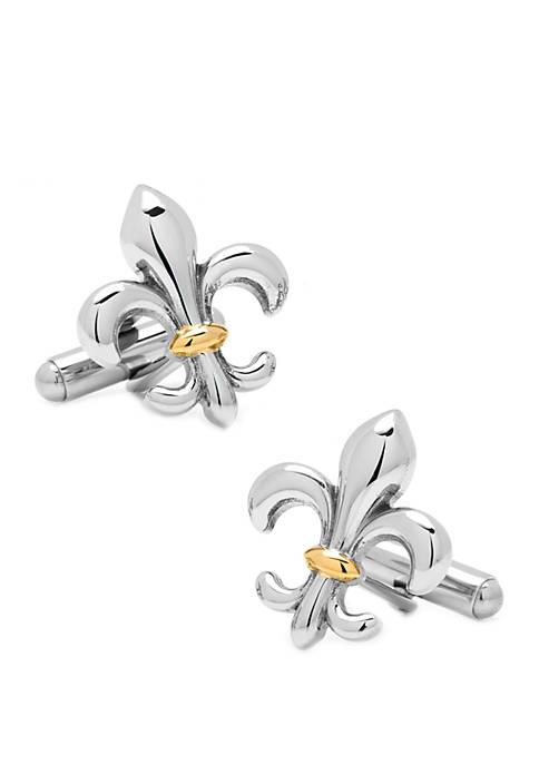 Ox & Bull Trading Co Stainless Steel Two-Tone Fleur De Lis Cufflinks