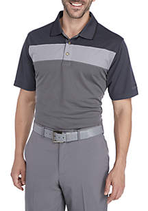 Classic-Fit Texture-Striped Performance Golf Polo Shirt