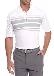 Classic-Fit Poly Text Striped Performance Golf Polo Shirt
