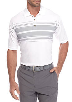 PEBBLE BEACH™ Classic-Fit Poly Text Striped Performance Golf Polo Shirt