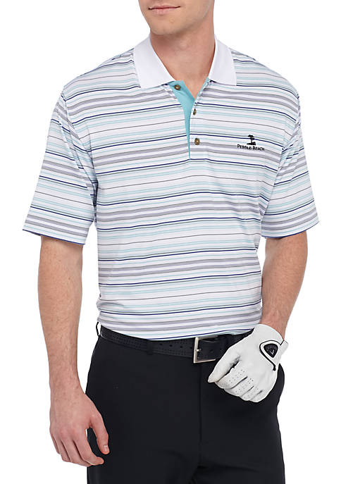 PEBBLE BEACH™ Classic-Fit Poly Jersey Stripe Performance Polo