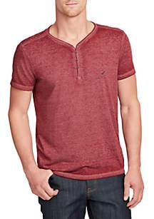 Short Sleeve V-Neck Henley Shirt