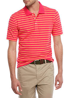Crown & Ivy™ Short Sleeve Stretch Stripe Pique Polo Shirt