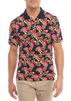 Crown & Ivy™ Short Sleeve Stretch Print Pique Polo Shirt