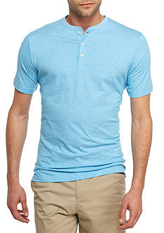 Crown & Ivy™ Short Sleeve End On End Henley Shirt