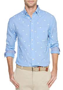 Long Sleeve Stretch Boar Print Casual Shirt