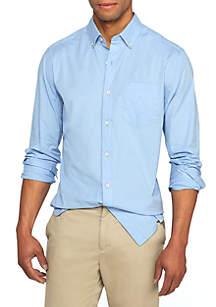 Long Sleeve Solid Button Down Poplin Shirt