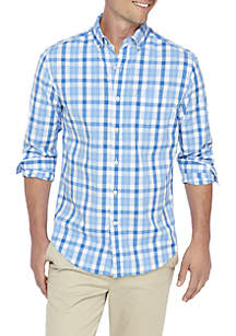 Long Sleeve Plaid Button Down Poplin Shirt