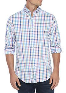 Long Sleeve Gingham Button Down Poplin Shirt