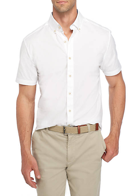 Crown & Ivy™ Short Sleeve Poplin Button-Down Shirt