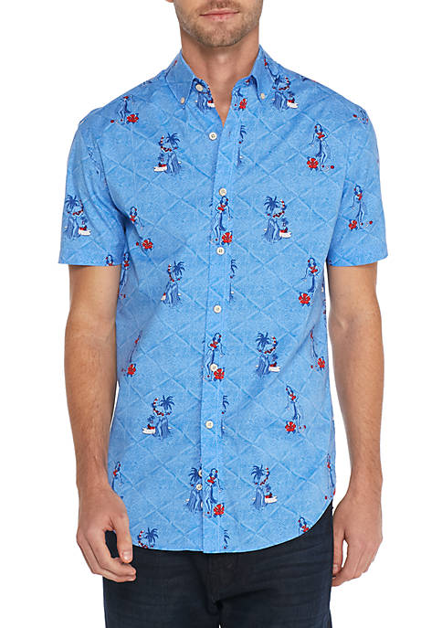 Crown & Ivy™ Short Sleeve Poplin Hula Girl