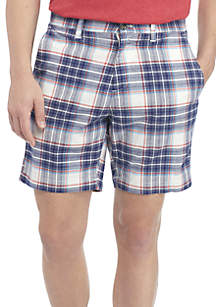 Flat Front Madras Shorts