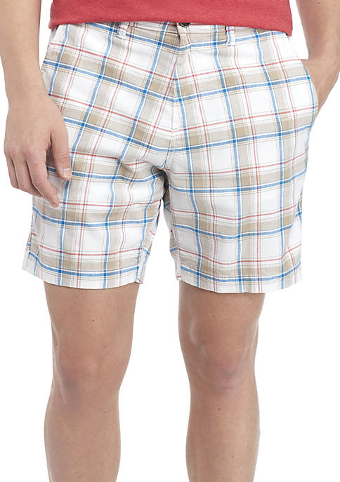 Crown & Ivy™ Flat Front Madras Shorts