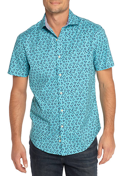 Crown & Ivy™ Short Sleeve Floral Print Poplin