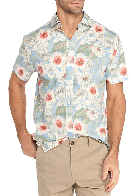 Crown & Ivy™ Short Sleeve Stretch Hibiscus Print