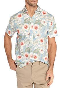 Short Sleeve Stretch Hibiscus Print Poplin Shirt