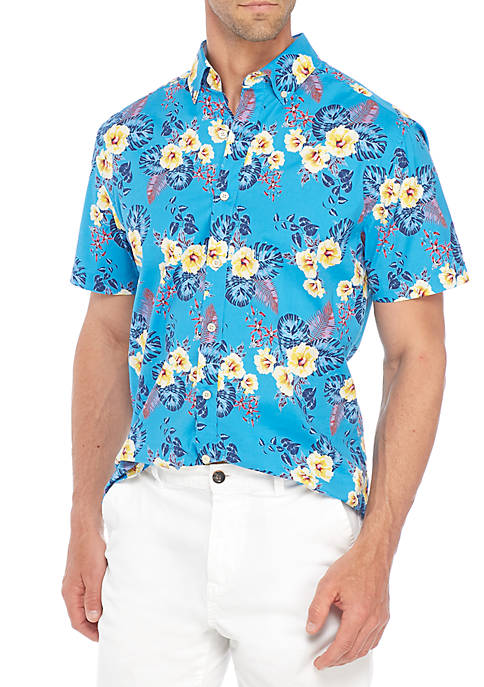 Crown & Ivy™ Short Sleeve Poplin Tropical Flower