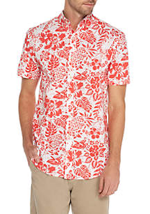 Short Sleeve Stretch Tropical Print Poplin Shirt