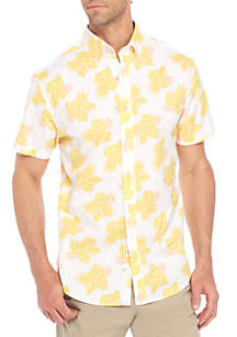 Short Sleeve Poplin Tropical Button-Down Shirt