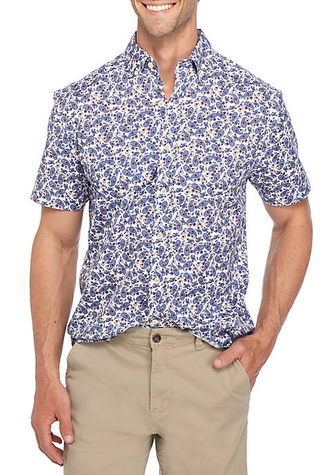 Crown & Ivy™ Short Sleeve Poplin Paisley Button
