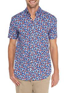 Short Sleeve Floral Print Poplin Shirt