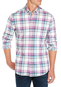 Long Sleeve Brushed Plaid Button Down Shirt