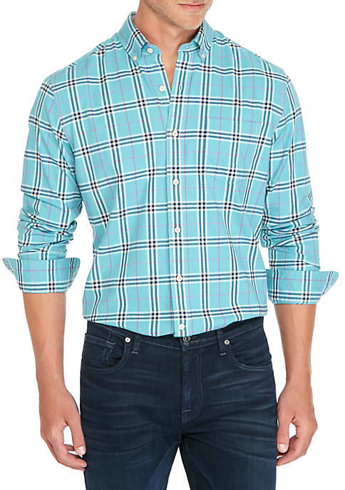 Crown & Ivy™ Long Sleeve Brushed Plaid Button