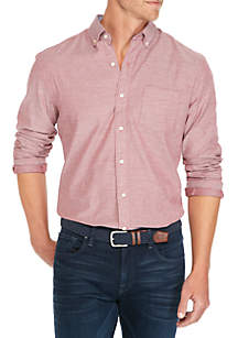 Long Sleeve Brushed Solid Button Down Shirt