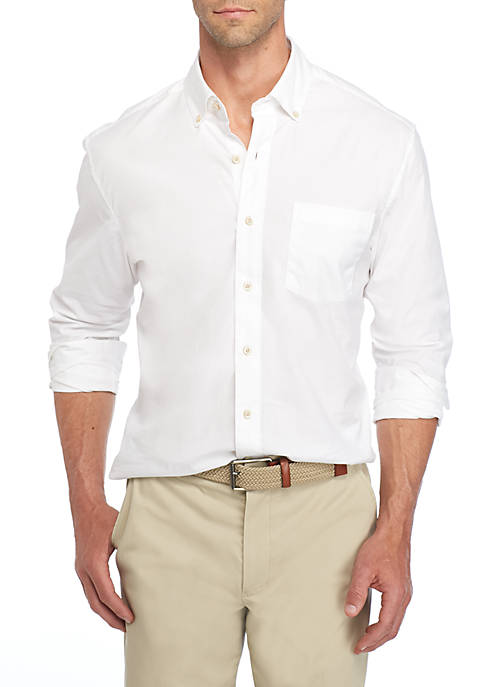 Crown & Ivy™ Long Sleeve Poplin Solid Button-Down