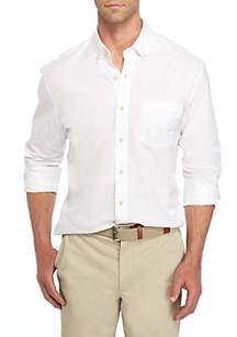 Long Sleeve Poplin Solid Button-Down Shirt