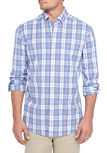 Long Sleeve Poplin Plaid Dress Shirt
