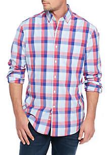 Long Sleeve Poplin Plaid Dress Shirt