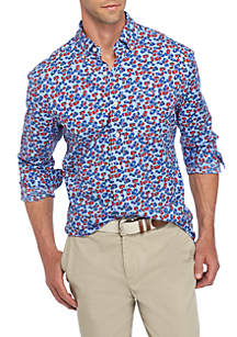 Long Sleeve Poplin Print Button-Down Shirt