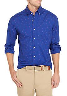 Long Sleeve Poplin Print Button-Down Shirt