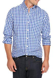 Crown & Ivy™ Poplin Plaid Slim Shirt