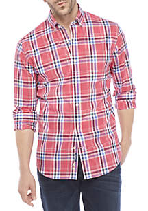 Non-Iron Plaid Slim Fit Shirt