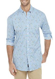 Crown & Ivy™ Long Sleeve Classic Fit No-Iron Motion Flex Print Button Down Shirt