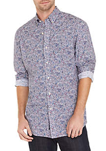 Crown & Ivy™ Long Sleeve Classic Fit No-Iron Motion Flex Print Button Down Shirt